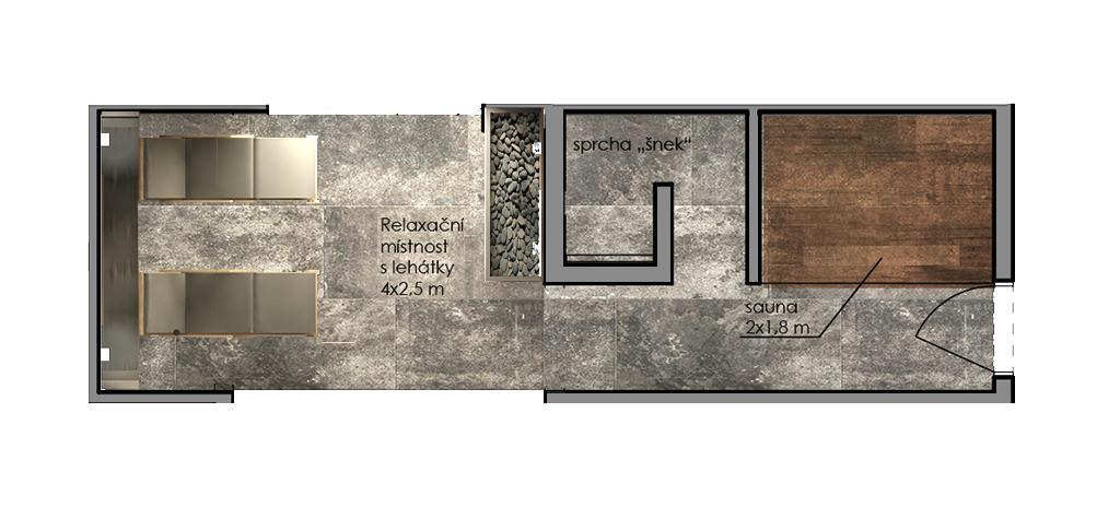 Sauna půdorysné řešení