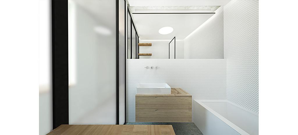 koupelna, bílá mozaika