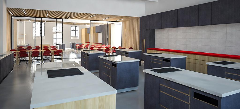 Návrh kuchyní pro kurzy vaření