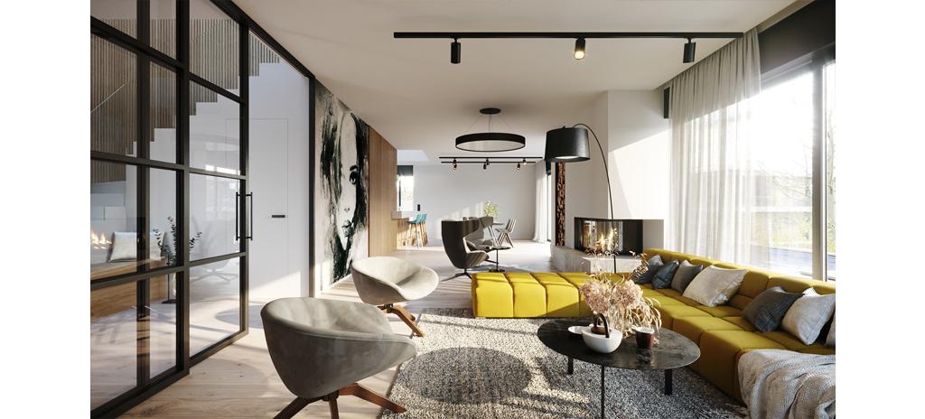 Interiér projektu Na Meandru_Obývací pokoj