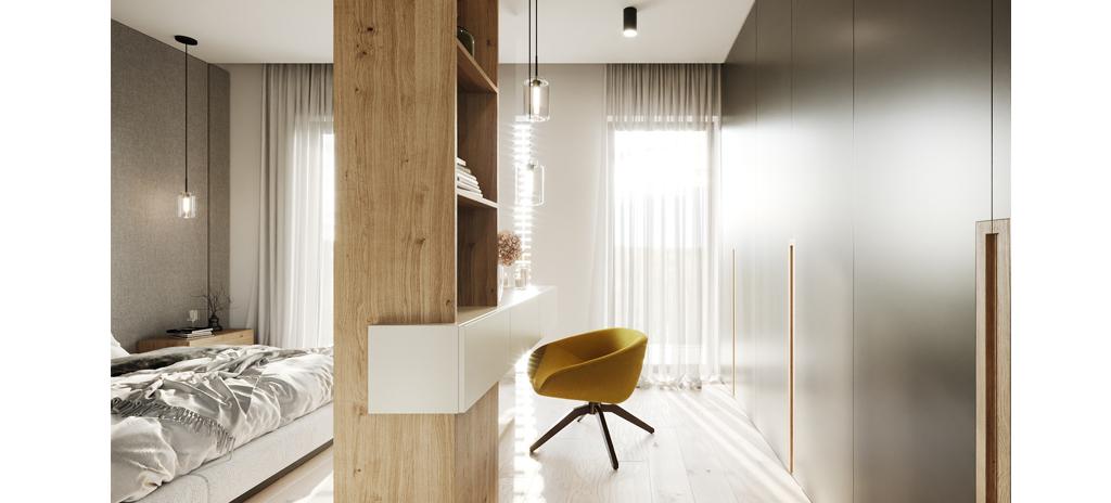Interiér projektu Na Meandru_ložnice, kosmetický stolek
