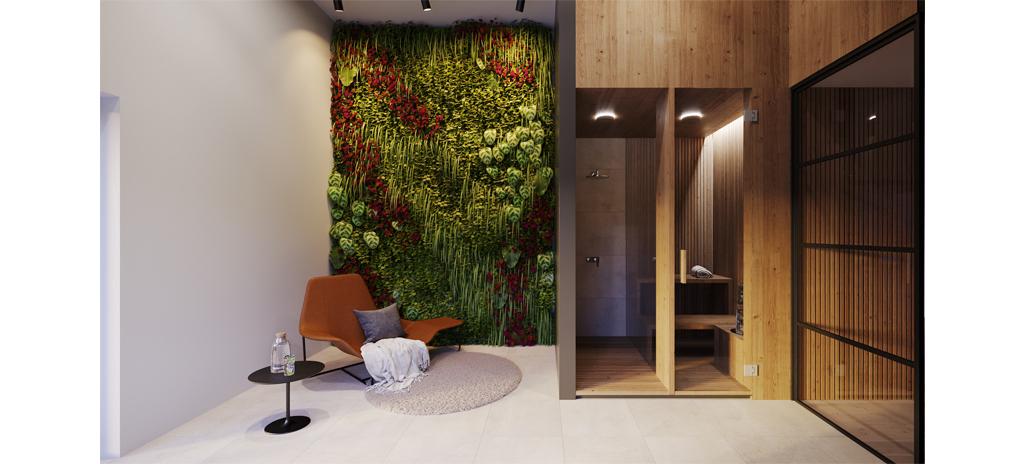 Interiér projektu Na Meandru_relaxační místnost